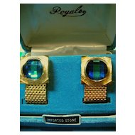 Men's Cuff Links Cufflinks Signed Dante Awesome Facetted Art Glass Blue & Gold Tone Wrap Arounds