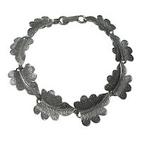 Vintage Leaf Bracelet 925 Sterling Signed Beau