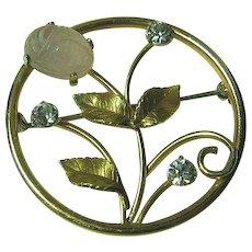 Krementz Dainty Flower Circle Brooch/Pin Pink Agate Scarab