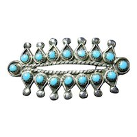 Native American Zuni Turquoise Silver Pin/Brooch