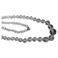Vintage Genuine Crystal Clear Faceted Bead Necklace On Chain