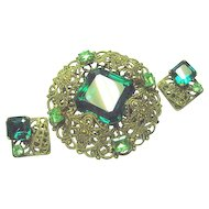 West Germany Emerald Green, Peridot & Lacy Brooch & Earrings Set