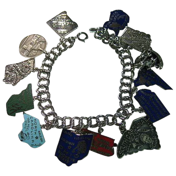 aea25f3339d71 Vintage Sterling Silver 925 Charm Bracelet & Enamel States Charms