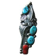 Native American Elongated Showy Sterling 925 Turquoise & Coral Ring Size 5 1/2