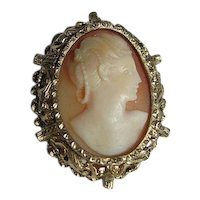 Hand Carved Shell Cameo Ornate Brooch/Pin/Pendant Sterling