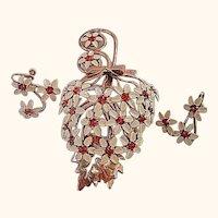Vintage Floral Umbrella Brooch/Pin & Earrings Enameled Set