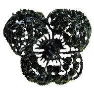 Vintage Signed Weiss Black Pansy Rhinestone Japanned Brooch/Pin