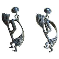 Vintage Sterling 925 Silver Kokopelli So Western Dangling Clip-On Earrings