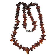 "Necklace 37"" Big Extra Chunky Dark Honey Cognac Genuine Amber Long"