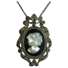 Pin/Brooch/Pendant/Necklace Exquisite Vintage Cameo Sterling Silver Mother of Pearl Onyx Marcasite Bridal