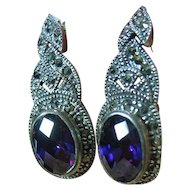 Sterling Silver 925 Dressy Multi-Facited Purple Marcasite Dangle Pierced Post Earrings