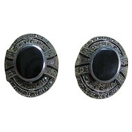 Vintage Sterling 925 Marcasite & Black Art Deco Style Clip-On Earrings
