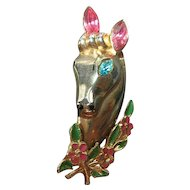 Signed Coro Vintage Figural Horse Pin/Brooch 1940's Victor Rhinestone & Enamel