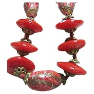 Red & Gold Morano Art Glass Bead Necklace & Pierced Earrings Set