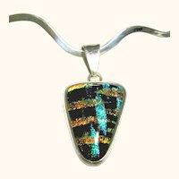 Sterling Silver Rigid Wavy Collar & Dichroic Pendant / Necklace