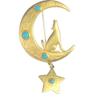 Signed JJ Moon & Coyote Gold Tone & Faux Turquoise Brooch / Pin
