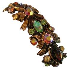 Signed Florenza Vintage Bracelet Aurora Borealis Honey & Green Rhinestones
