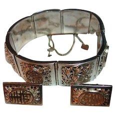 Asian 925 Sterling Silver Panel Bracelet & Pierced Earrings Set