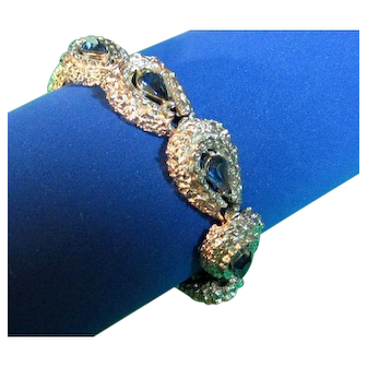 Vintage Bracelet Signed Coro Sapphire Blue & Silver Tone