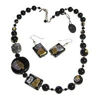 Murano Glass Venetian Italian Black Gold/Silver Foil Beads Necklace & Pierced Earrings Set