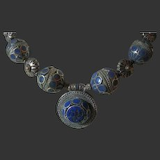 Vintage Chunky Big Necklace Ethnic Tribal Lapis Runway Showy