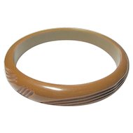 Vintage Caramel Bakelite Carved Bangle Bracelet