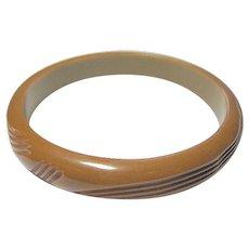 Vintage Caramel Bakelite Carved Bangle Bracelet