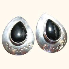 Native American Navajo Sterling Silver 925 & Onyx Post Earrings Signed Jenn