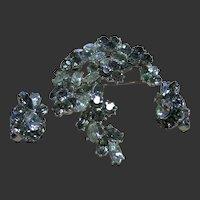 Vintage Crown Trifari Black Diamond & Clear Rhinestone Brooch & Earrings Set