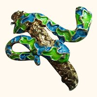 Vintage 3D Eye Catching Enameled Snake Bracelet