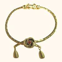 Signed Goldette Victorian Revival Dainty Bracelet