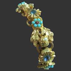 Vintage Dainty Bookcase Faux Turquoise, Faux Pearls Flowers & Leaves Bracelet
