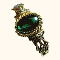 Fancy Green Victorian Revival Style Cuff Bracelet