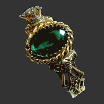 Fancy Green Victorian Revival Style Cuff Bracelet