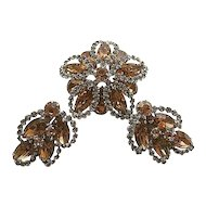 Vintage Signed Weiss Stunning Brooch/Pin & Earrings Floral SET Champagne,Smokey Rhinestones Silver Tone