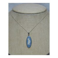 Blue & White Wedgwood Cameo 925 Sterling Silver Pendant/Necklace