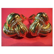 Nolan Miller Earrings Classic Gold Tone Knot & Rhinestone Clips