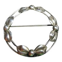Vintage Danish Signed 925 Sterling Silver Brooch/Pin Round Classic Bows