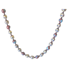 Cloisonné Bead Floral Necklace and Earrings SET