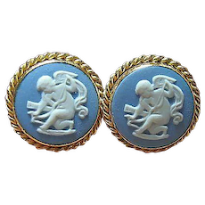 Vintage Van Dell Cupid Screw Earrings 14kt GF Wedgwood