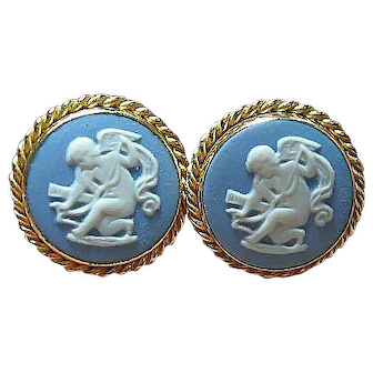 Vintage Van Dell Cupid Screw Earrings 14kt GF Blue Wedgwood Jasperware