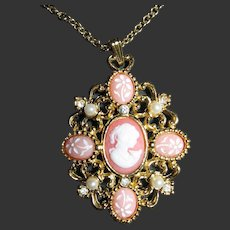 Vintage Cameo Coral Pendant/Necklace Art Glass, Faux Pearls & Rhinestones
