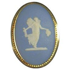 Van Dell Wedgwood Jasperware Blue Dancing Hours Lady 14kt GF Brooch/Pin
