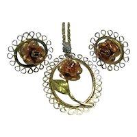 Signed Dainty Necklace/Pendant and Pierced Earrings Krementz