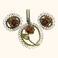 Signed Dainty Rose Necklace/Pendant and Pierced Earrings Krementz