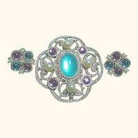 Signed Green, Pink & Faux Pearl Brooch & Pierced Earrings SET