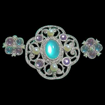 1928 Company Lacy Green, Pink & Faux Pearl Brooch & Earrings SET