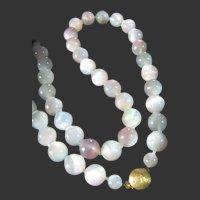 Vintage Unusual Moonglow Blue & Pink Beads Necklace