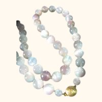 Vintage Moonglow Blue & Pink Beads Necklace