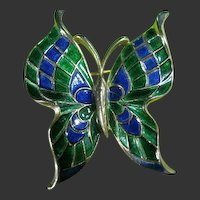 Signed Trifari Dainty Enamel Butterfly Blue, Green & Gold Tone